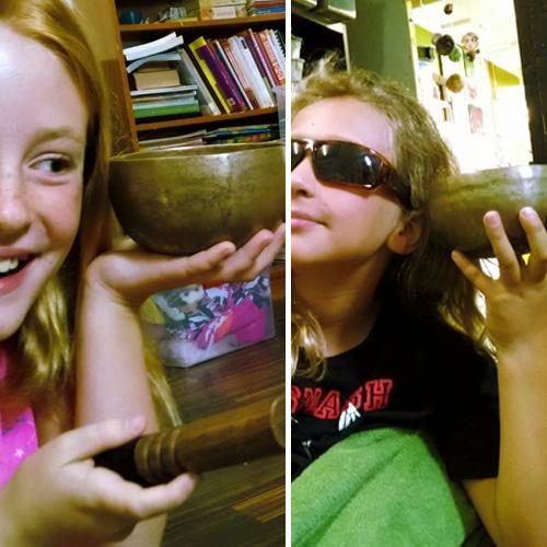 girls with singing bowl